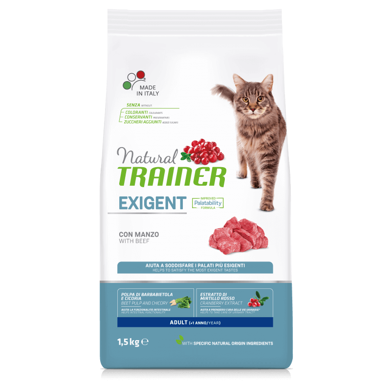 Trainer Natural Adult Cat with Beef sausas maistas su jautiena