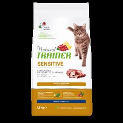 Natural Trainer Cat Adult Sensitive Duck sausas maistas su antiena katėms