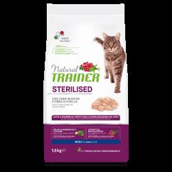 Natural Trainer Adult Cat Sterilised with White Meat sausas maistas su balta mėsa katėms