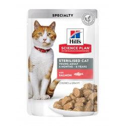 Hill's Science Plan Sterilized Young Adult Cat Salmon Pouch guliašas katėms
