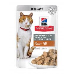 Hill's Science Plan Sterilized Young Adult Cat Turkey Pouch guliašas katėms